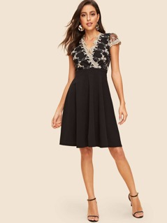 50s Embroidered Mesh Overlay Pleated Dress