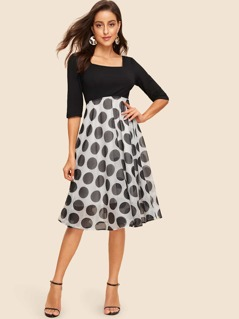 60s Square Neck Polka Dot Fit & Flare Dress