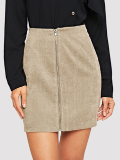 Zip Front Corduroy Bodycon Skirt