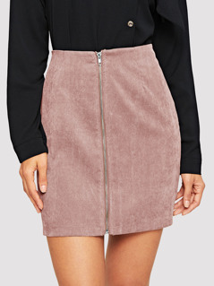 Zip Up Bodycon Cord Skirts