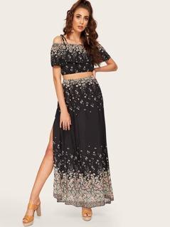 Ruffle Detail Cold Shoulder Floral Top & Split Skirt Set
