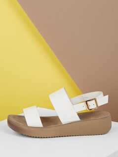 Thick Bands Heel Strap Platform Wedge Sandals