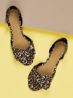 Leopard Print Bow Detail Dorsay Ballet Flats
