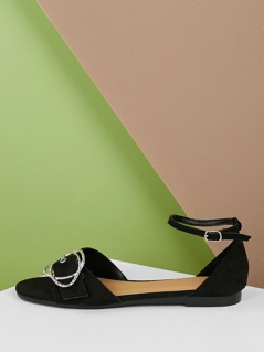 Open Toe Large Buckle Detail Ankle Strap Flats