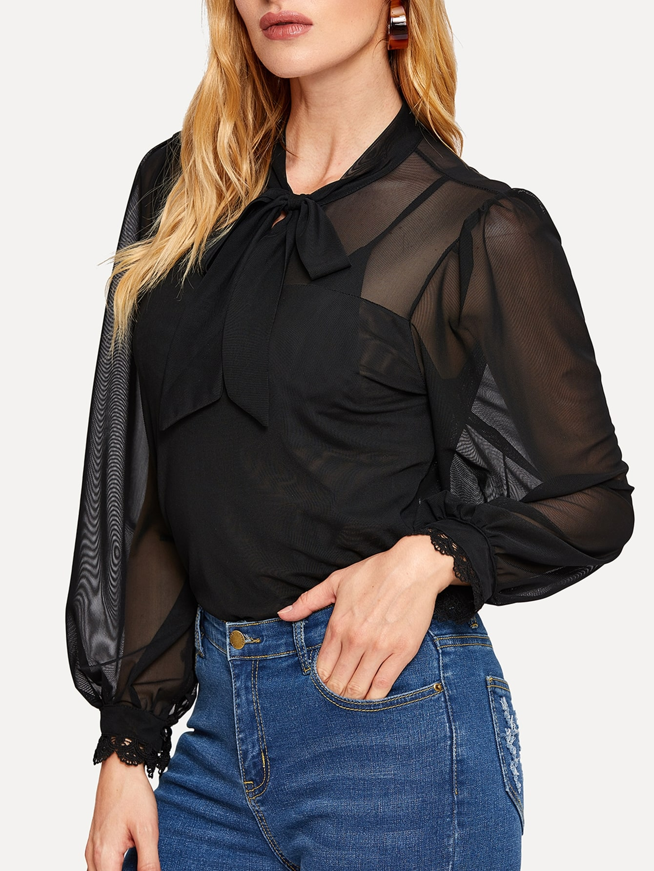 Купить Прозрачная сетчатая блуза с завязкой на шее, Masha, SheIn