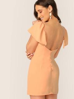 V-Neck Ruffle Sleeve Low Back Mini Dress