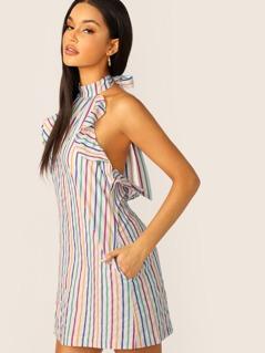 Rainbow Stripe Ruffle Trim Halter Neck Dress