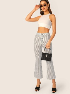 Button Fly Striped Cropped Wide Leg Pants