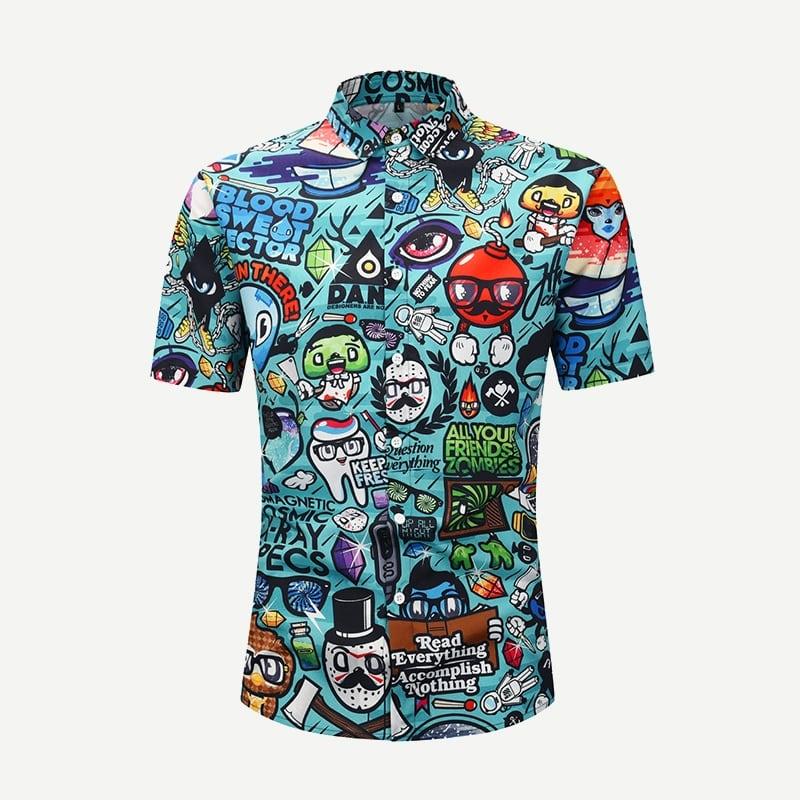 Groen Casual Spotprent Overhemden voor heren
