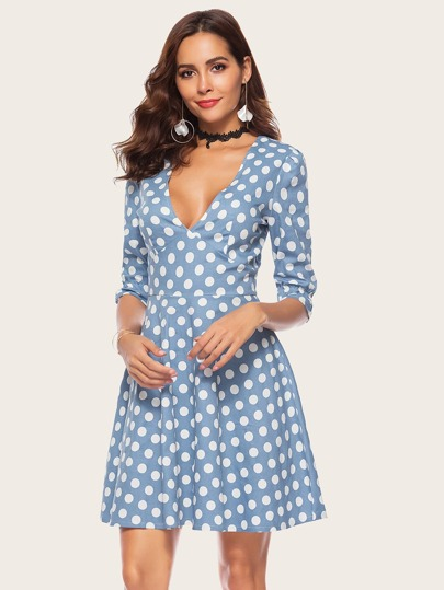 SheIn / 70s Polka Dot Print V-neck Dress
