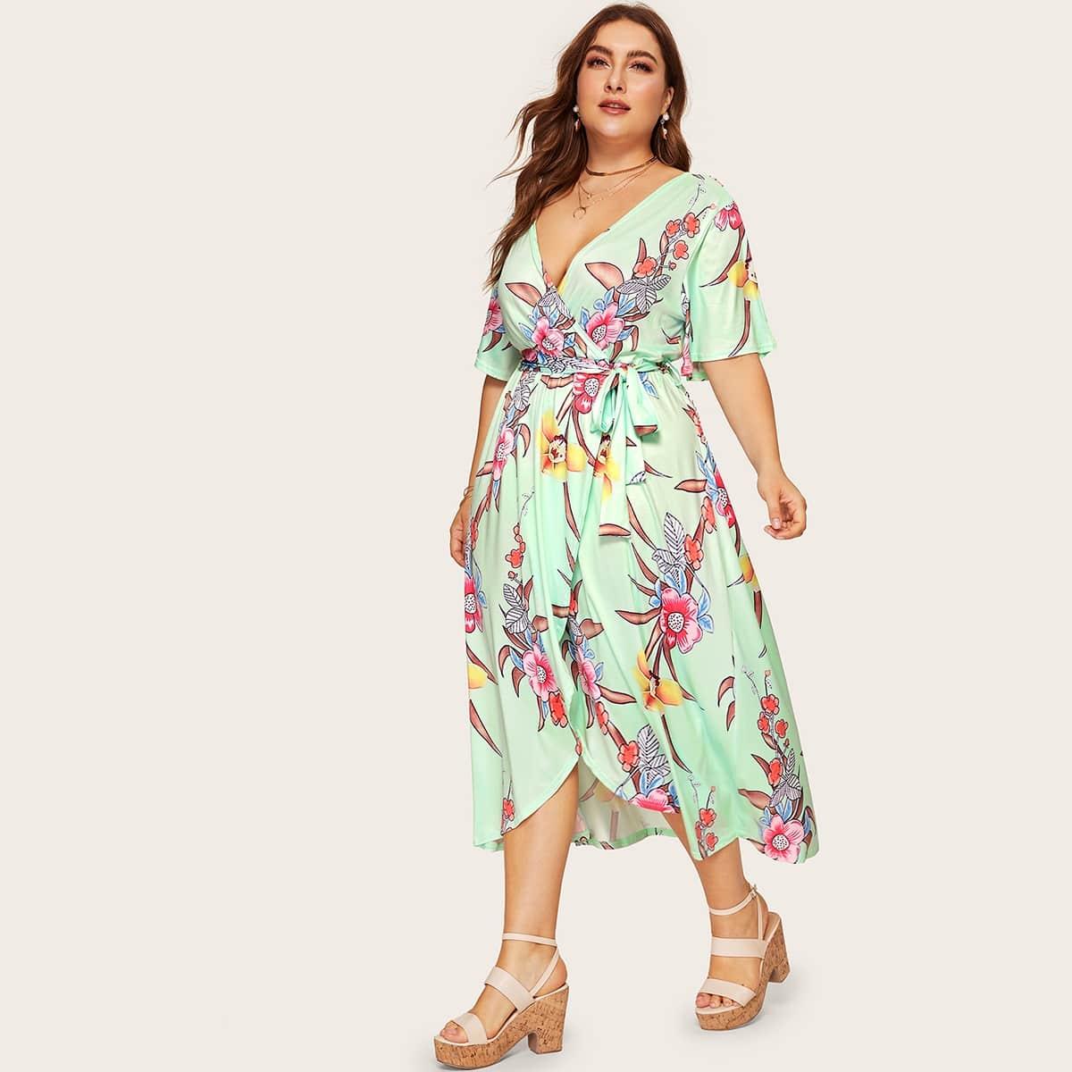 Veel kleurig Boho Bloemen Grote maten jurken Wrap