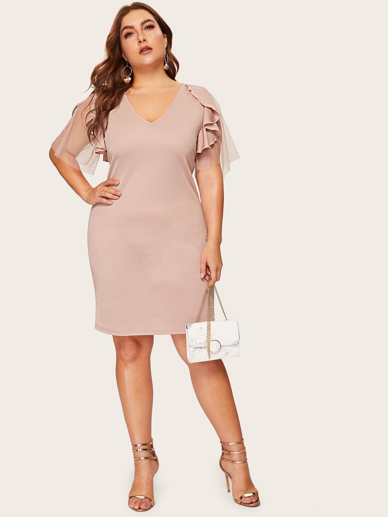 Размера плюс платье с оборкой и контрастной сетчатой вставкой