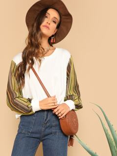 Loose Knit Striped Sleeve Pullover