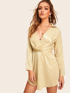 V Neck Curved Hem Crisscross Knot Dress
