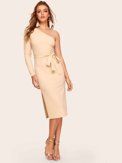 One Shoulder Slit Side Fitted Dress