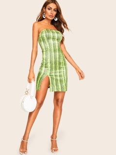 Slit Hem Snake Print Fitted Tube Dress