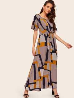 Mixed Print Raglan Sleeve Knot Dress