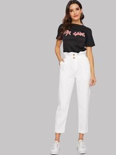Ruffle Waist Solid Crop Jeans
