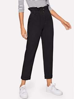 Paperbag Waist Slant Pocket Jeans