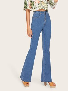 High Waist Button Up Flare Hem Jeans