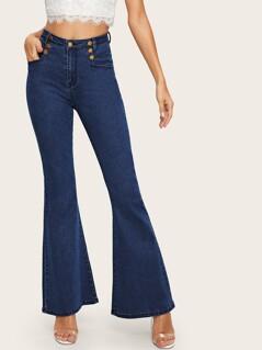 Dark Wash Button Detail Flare Hem Jeans