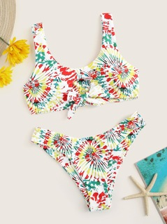 Cutout Knot Spiral Print Bikini Set