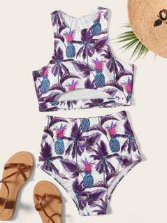 Tropical Print Cutout Top With High Waist Bikini Set