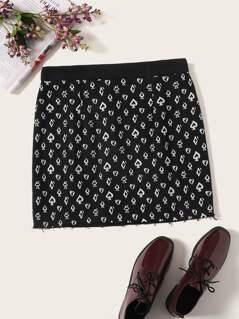 Poker Print Zip Back Bodycon Skirt