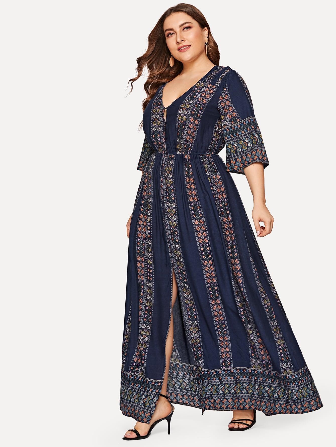 Размер плюс платье с вырезом и племенным принтом