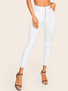 Zip Up Pocket Solid Jeans