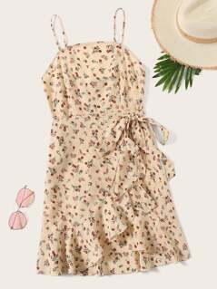 Ruffle Trim Wrap Hem Ditsy Floral Slip Dress