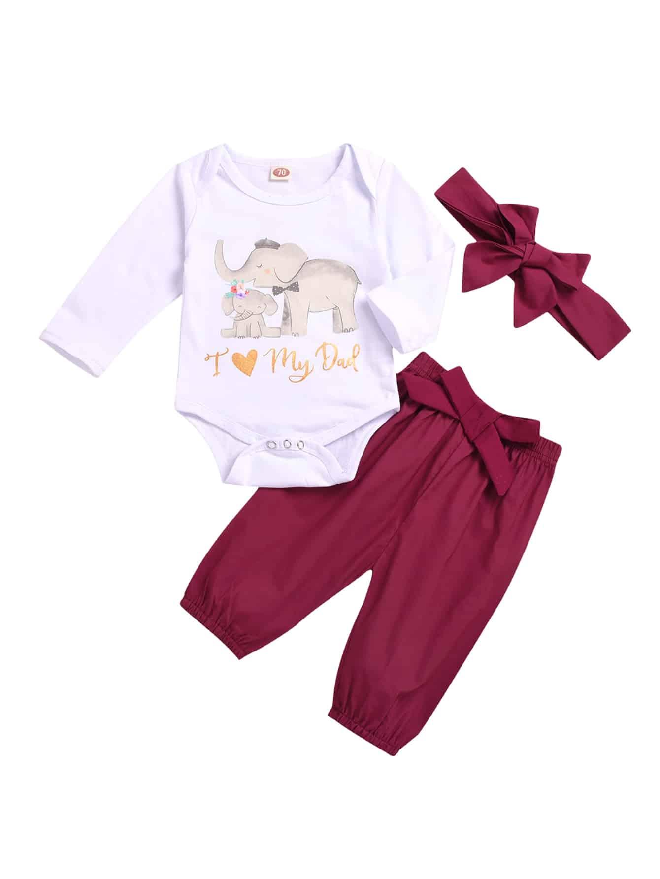 Купить Блуза с принтом мультяшным и брюки с бантом и бандана для маленьких девочек, null, SheIn