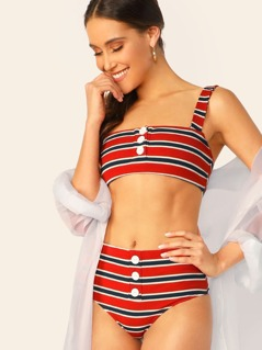 Button Detail Striped High Waist Bikini Set