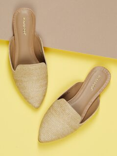 Woven Raffia Pointed Tow Slip On Flat Mules
