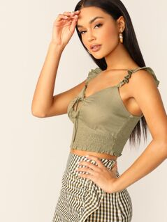 Keyhole Tie Front Smocked Waist Ruffle Detail Top