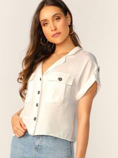 Safari Style Button Front Double Pocket Shirt