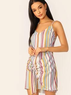 Waist Wrap Front Knot Striped Sleeveless Dress