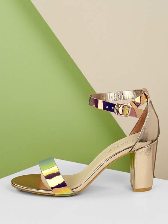 1bc547907d Holographic Open Toe Chunky Heel Sandals   MakeMeChic.COM