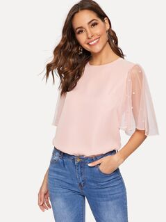 Pearl Beaded Mesh Sleeve Blouse
