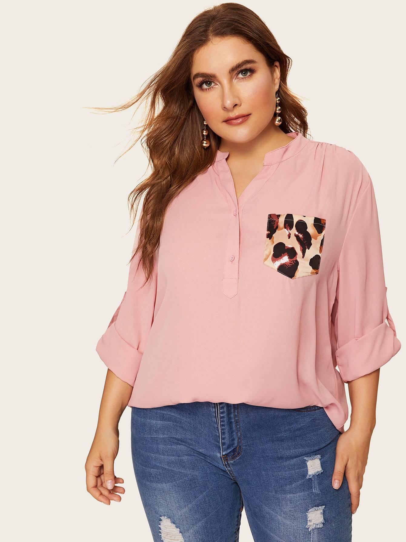 Размер плюс леопардовая блузка с оригинальным рукавом и карманом, Franziska, SheIn  - купить со скидкой