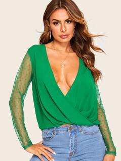 Plunging Neck Wrap Hem Mesh Sleeve Top