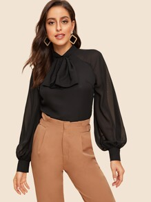 Bow Neck Lantern Sleeve Split Back Blouse