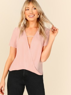 Cutout Front Wrap Draped Top