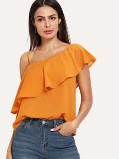 Ruffle Asymmetrical Neck Solid Top