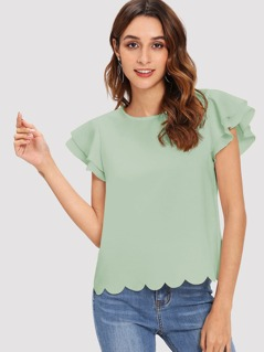 Scallop Hem Layered Flutter Sleeve Top