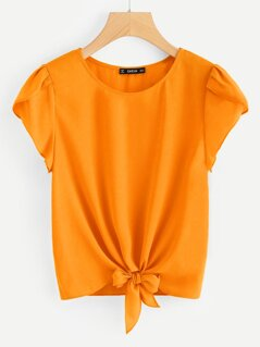 Petal Sleeve Knot Front Top