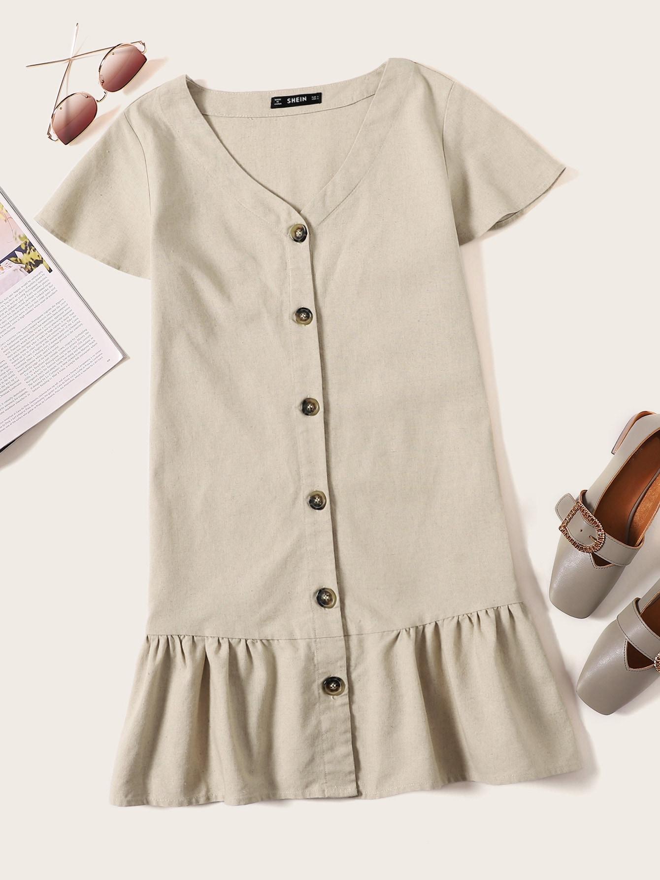 Купить Однобортное платье с оригинальным рукавом, null, SheIn