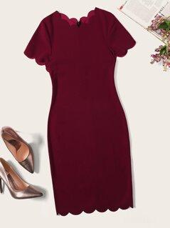 Scallop Edge Bodycon Dress
