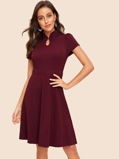 70s Zip Back Mandarin Collar Textured Dress