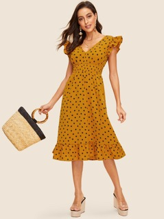 80s Double V-neckline Shirred Waist Ruffle Dress